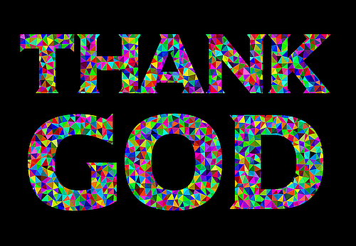 Thank God Poster - Stained Glass Design