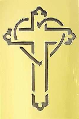 Cross & Heart Cut-Out Mini Card - Gold