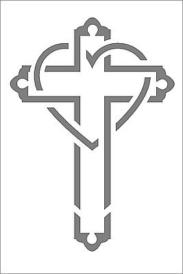 Cross & Heart Cut-Out Mini Card - White
